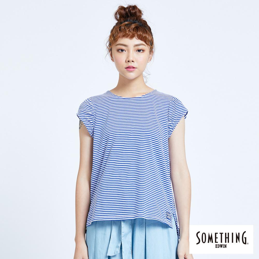 SOMETHING 細條抽皺圓領T恤-女-藍色