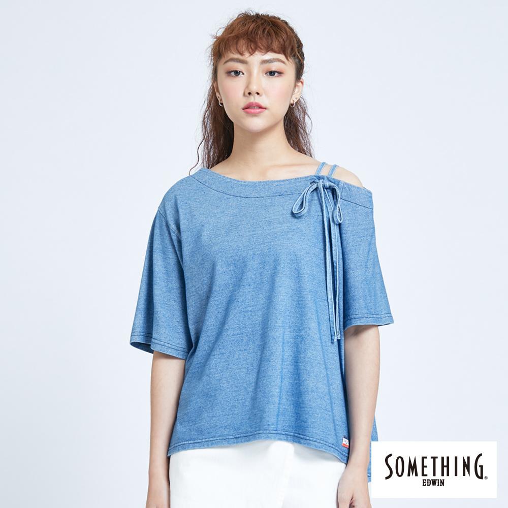 SOMETHING 不對稱斜肩T恤-女-漂淺藍
