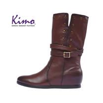 【Kimo 德國手工氣墊鞋】素色繫帶設計小牛皮舒適中長靴(時尚咖KAIWF034298)
