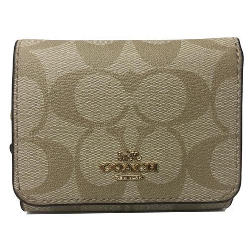 【COACH】經典 LOGO PVC皮革多卡片夾層短夾(玫瑰粉)