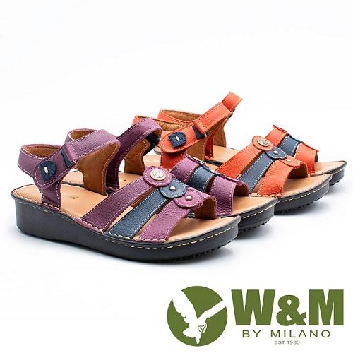 W&M 三線拚色魔鬼氈黏涼鞋 女鞋 - 2色任選(紫/橘)