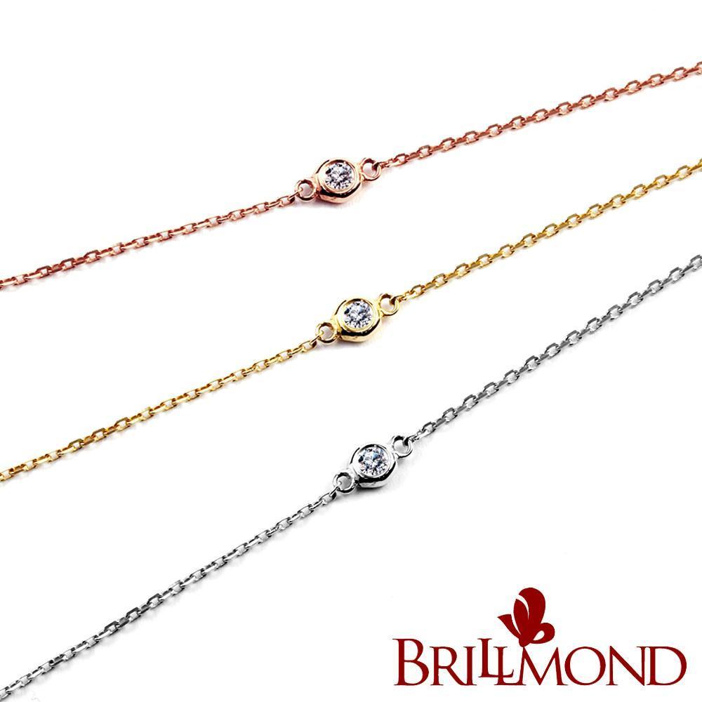 BRILLMOND 經典優雅18K金鑽石手鍊(雙色選)