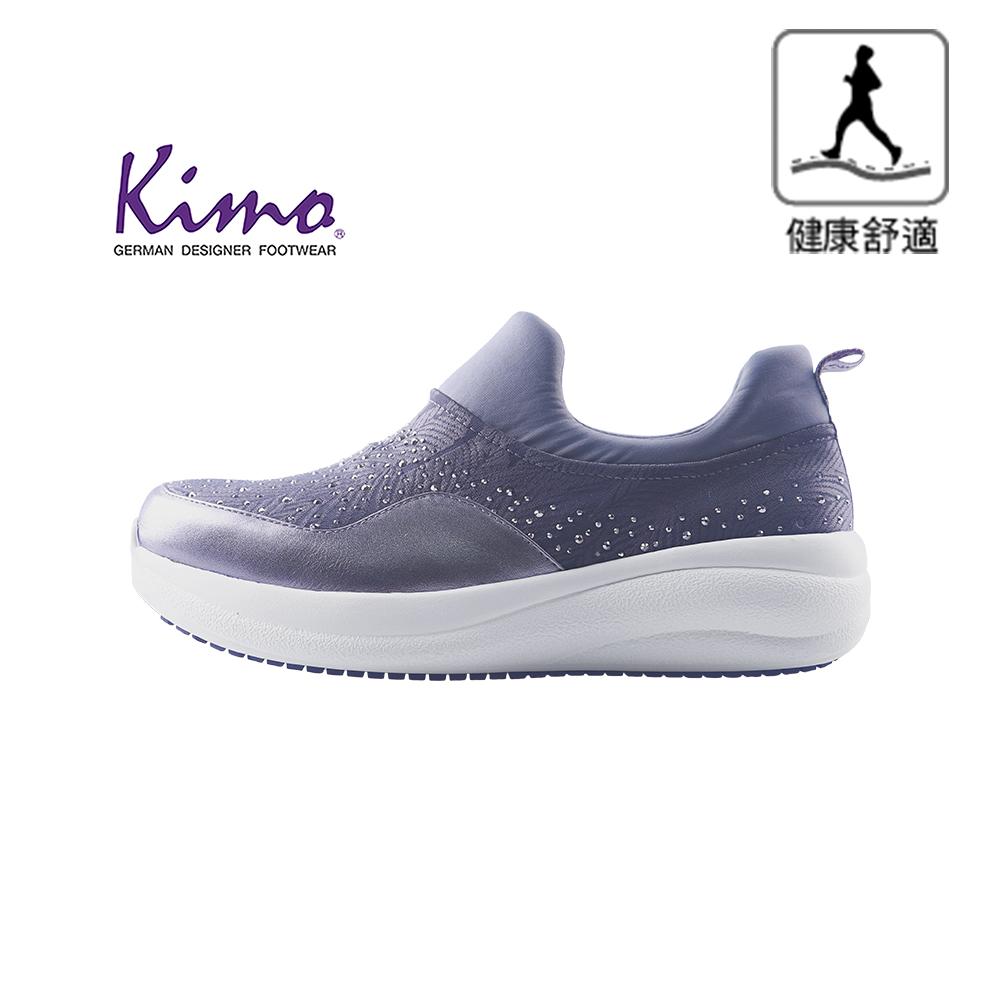 【Kimo 德國手工氣墊鞋】※守護足底健康※高機能閃鑽牛皮彈性布舒適健康鞋(知性灰KAIWF141062C)