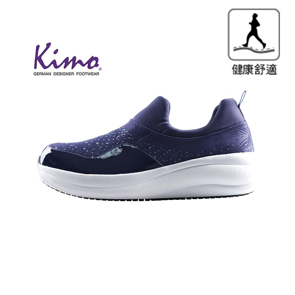 【Kimo 德國手工氣墊鞋】※守護足底健康※高機能閃鑽牛皮彈性布舒適健康鞋(活力藍KAIWF141066C)