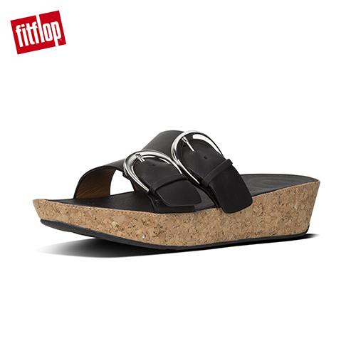 【FitFlop】DUO-BUCKLE SLIDE SANDALS - LEATHER 黑色