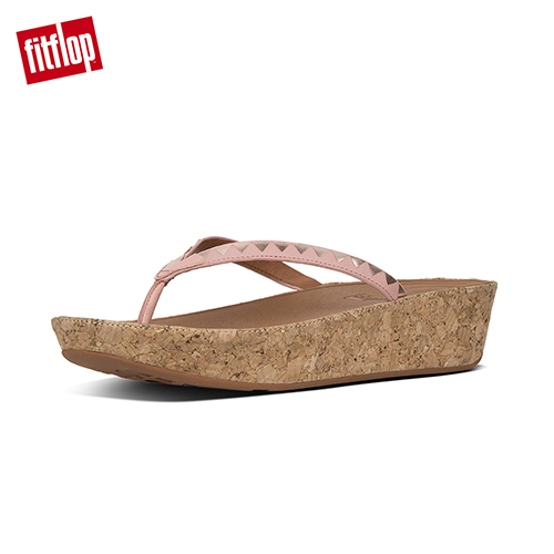 【FitFlop】LINNY TOE-THONG SANDALS - ZIGZAG MIRROR 灰粉/玫瑰金