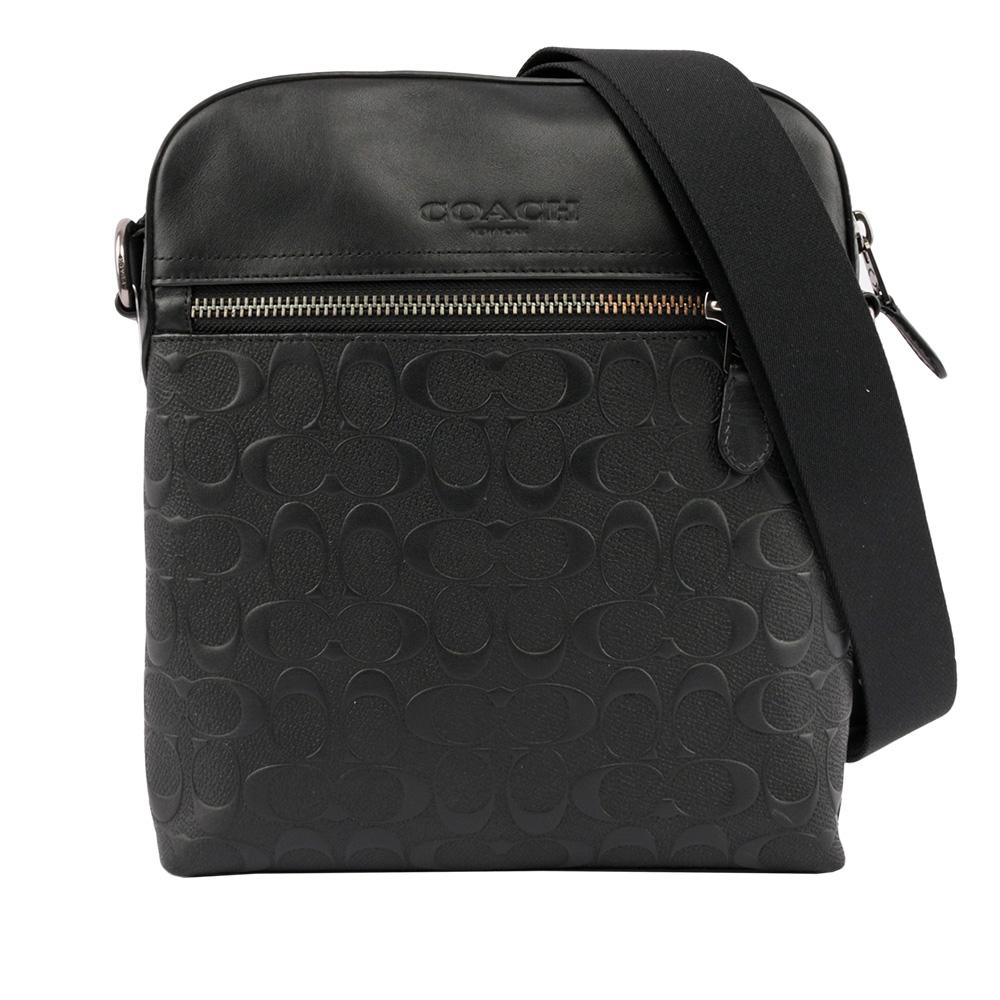 【COACH】壓印LOGO 壓紋皮革斜背包(厚款)(黑色) F73338 QB/BK