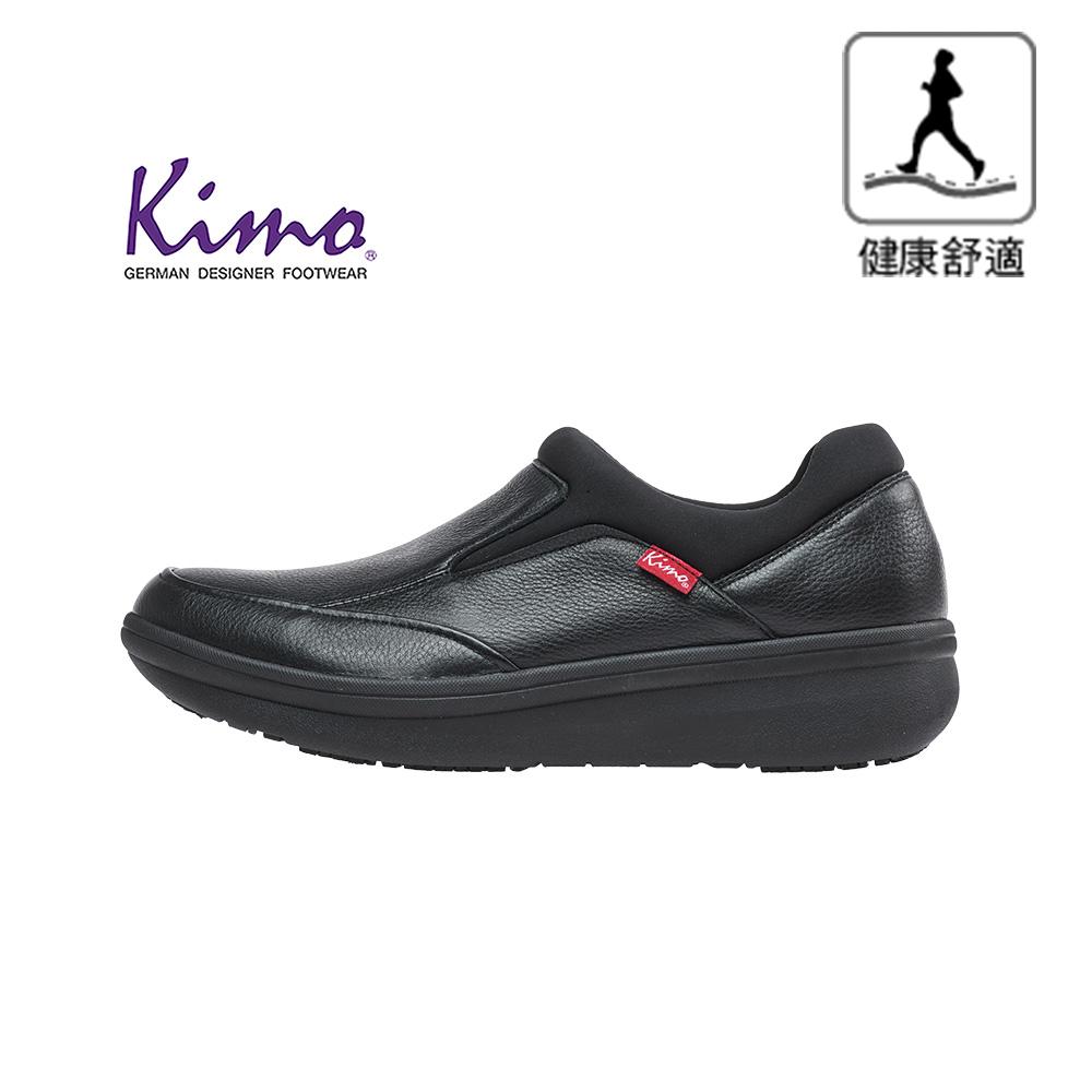 【Kimo 德國手工氣墊鞋】※守護足底健康※高機能雙材質真皮彈性萊卡舒適男性健康鞋(都市黑KAIWM027013)