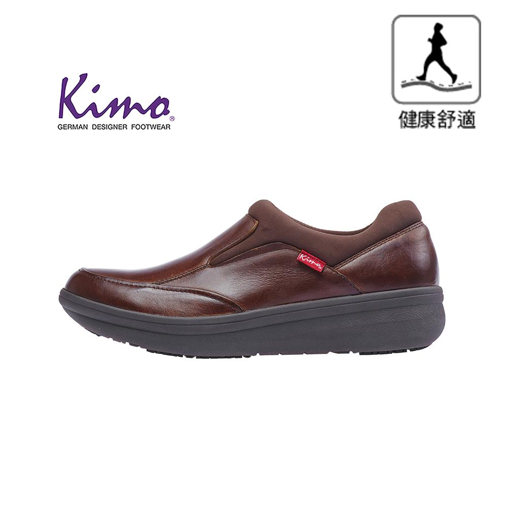 【Kimo 德國手工氣墊鞋】※守護足底健康※高機能雙材質真皮彈性萊卡舒適男性健康鞋(成熟咖KAIWM027018)
