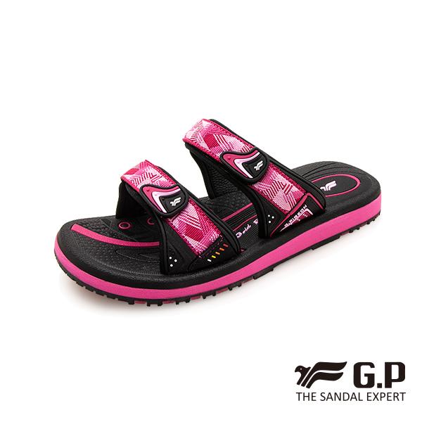 【G.P 女款簡約織帶風格雙帶拖鞋】G0573W 黑桃色(SIZE:36-39 共三色)