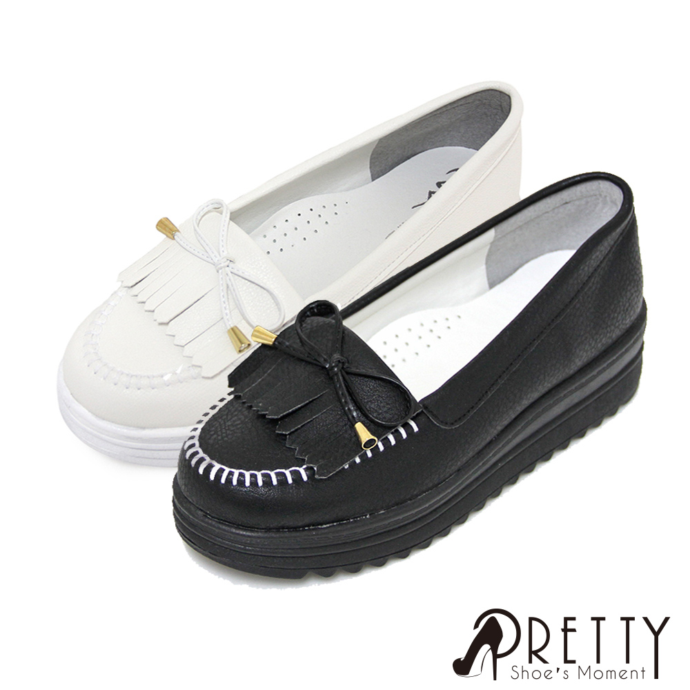【Pretty】韓系百搭流蘇莫卡辛厚底鞋