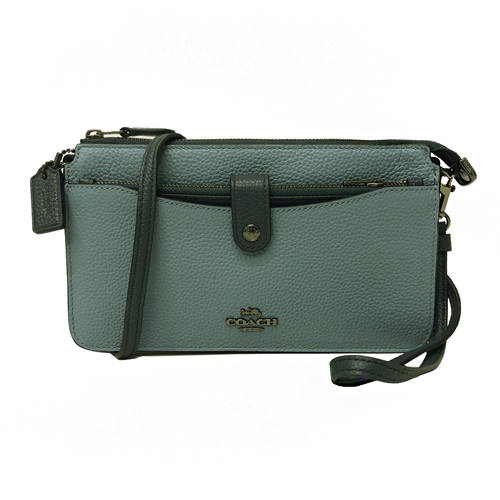 【COACH】專櫃款釦式前口袋零錢卡片夾牛皮長夾式小斜背(莫蘭迪藍)