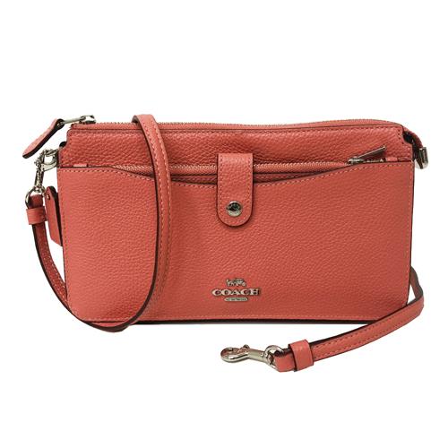 【COACH】專櫃款釦式前口袋零錢卡片夾牛皮長夾式小斜背(甜橘紅)