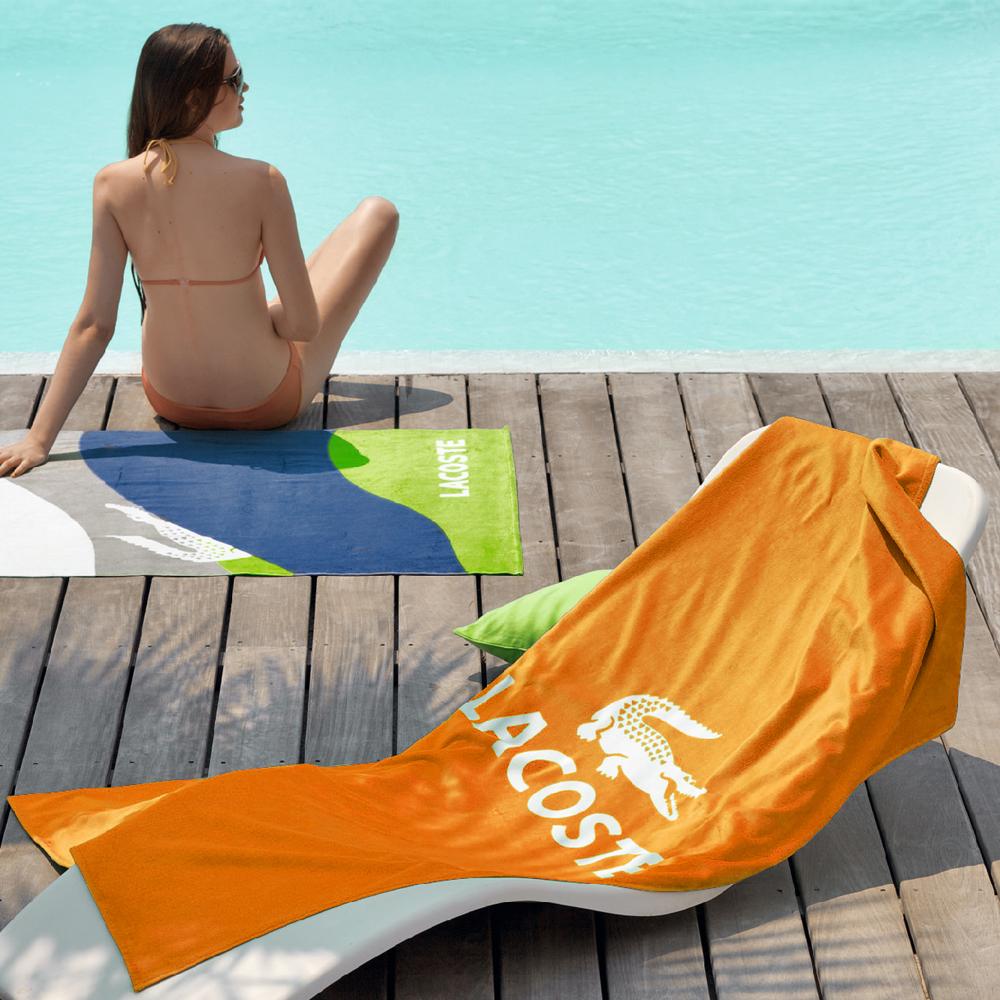 【LACOSTE】海灘巾BRAF/橙色