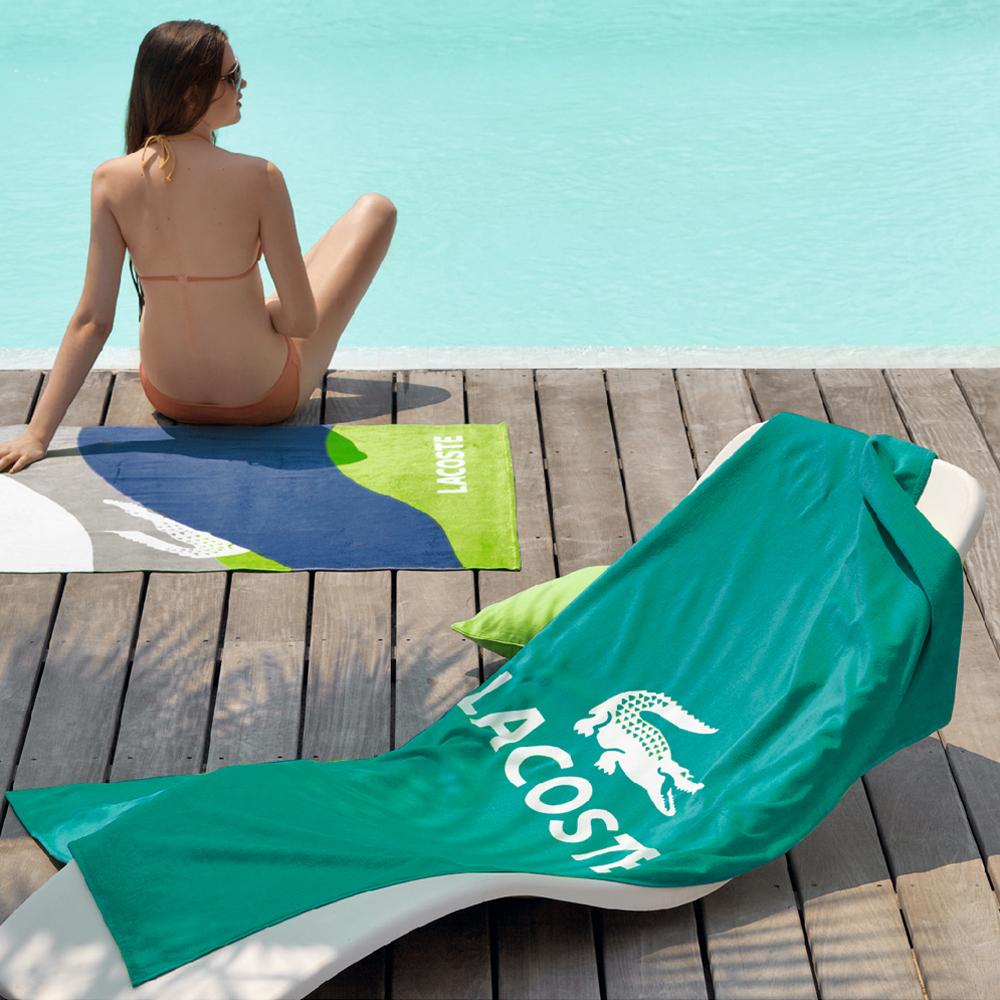 【LACOSTE】海灘巾BRAF/綠色