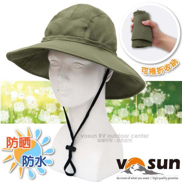 【VOSUN】熱賣款 經典時尚防水透氣高防曬大盤帽子(帽圍可調_附帽繩)登山鴨舌帽/VO-1619 卡其