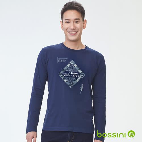 bossini男裝-印花長袖T恤04海軍藍