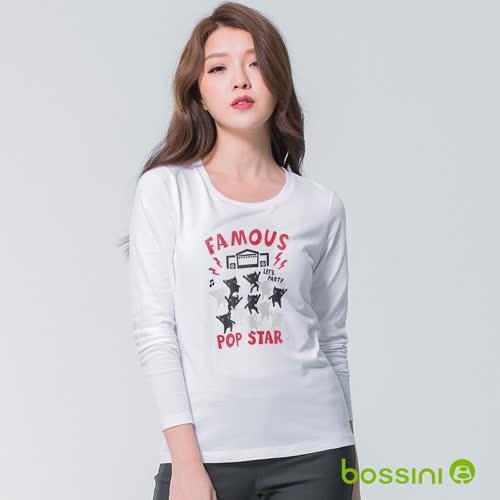 bossini女裝-印花長袖T恤05白