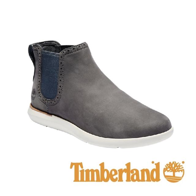 Timberland 皮革直套休閒靴 女鞋 - 灰