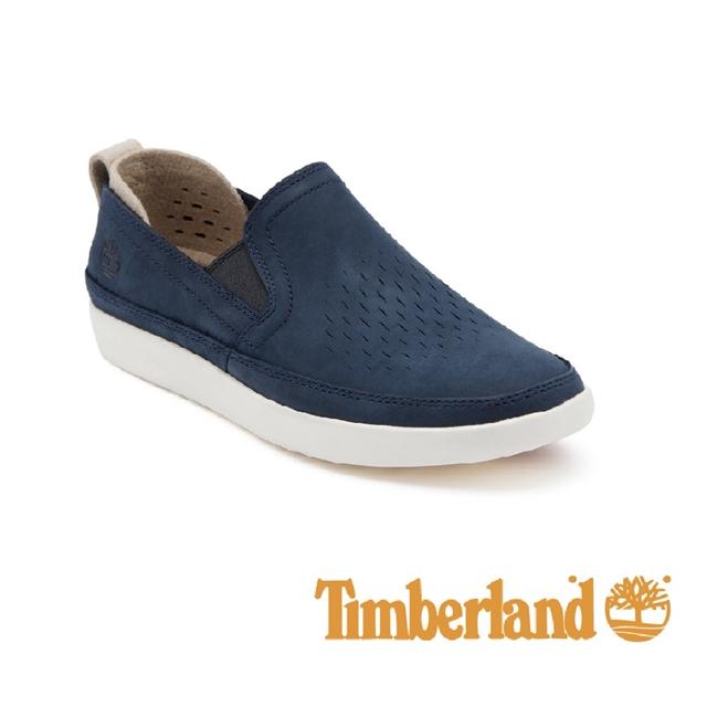 Timberland 皮革舒適透氣便鞋 男鞋 - 藍
