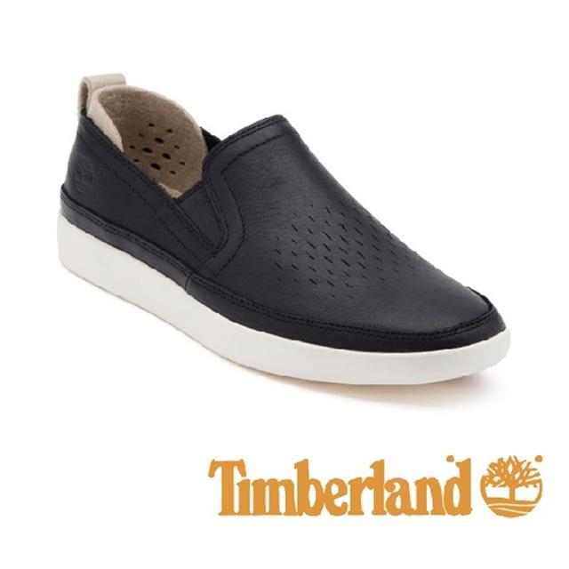 Timberland 皮革舒適透氣便鞋 男鞋 - 黑