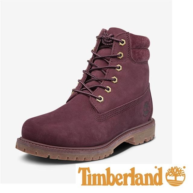 Timberland 六吋防水雙領靴 女鞋 - 酒紅
