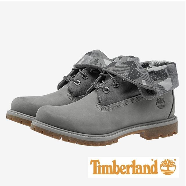 Timberland 印花兩穿翻領靴 女鞋 - 灰