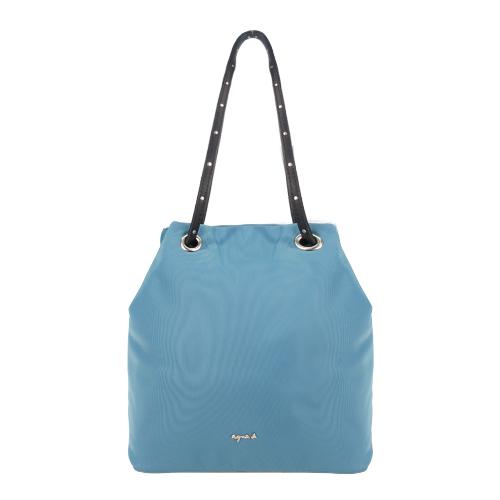 agnes b.金屬LOGO鉚釘背袋手提水桶包-灰藍