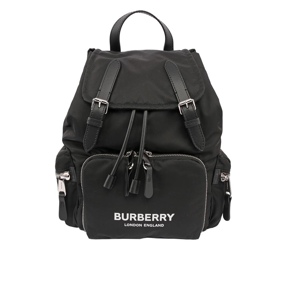 【BURBERRY】The Rucksack科技尼龍與皮革中型軍旅後背包(黑色) 8011617 A1189