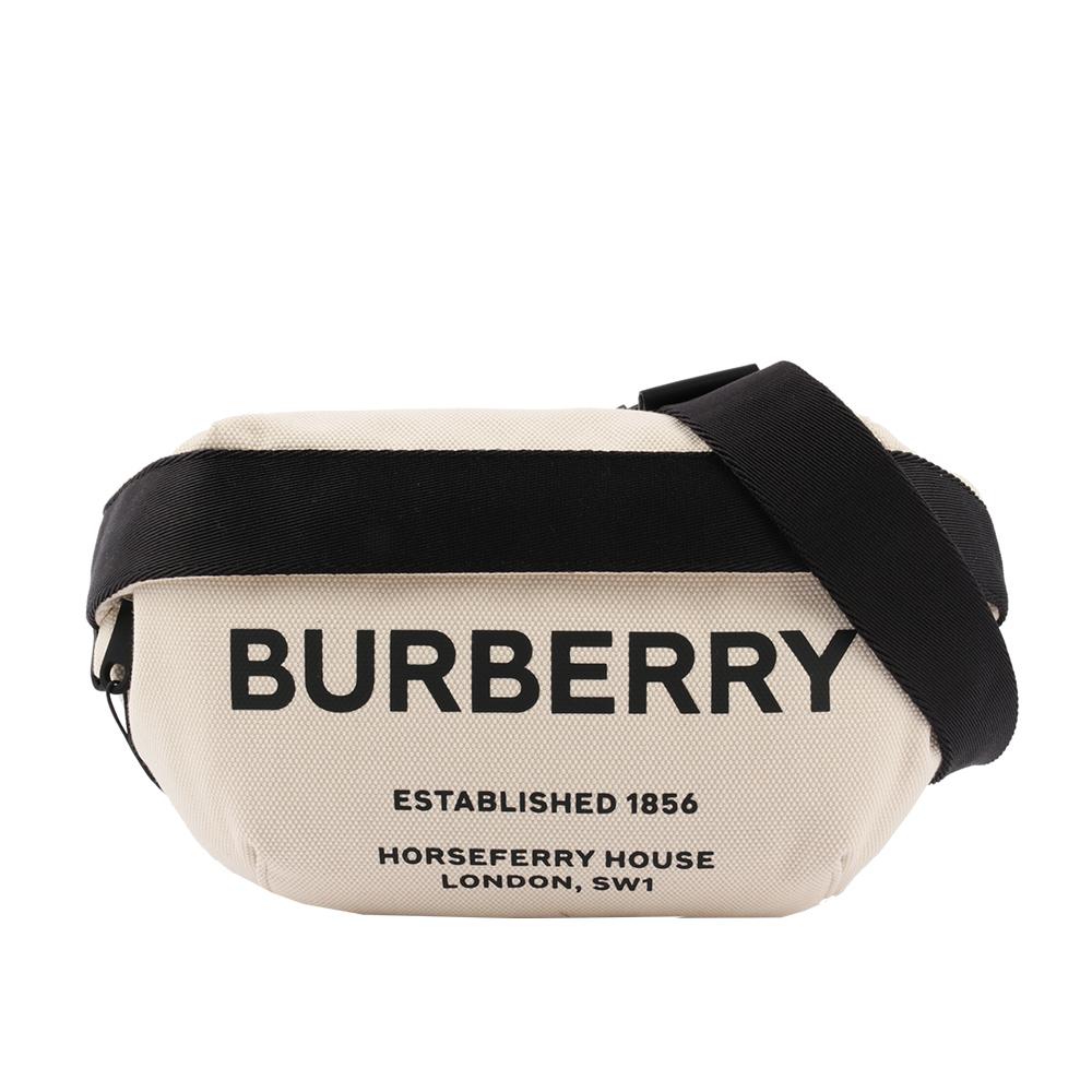 【BURBERRY】中型 Horseferry 印花棉質帆布腰包(米白色/黑色) 8014641 A1395
