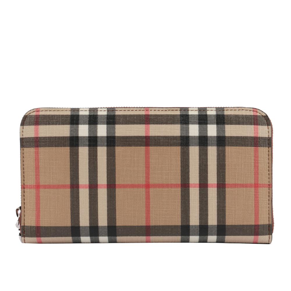 【BURBERRY】Vintage格紋環保帆布環繞式拉鍊厚款皮夾(麥芽棕色) 8015343 A1212