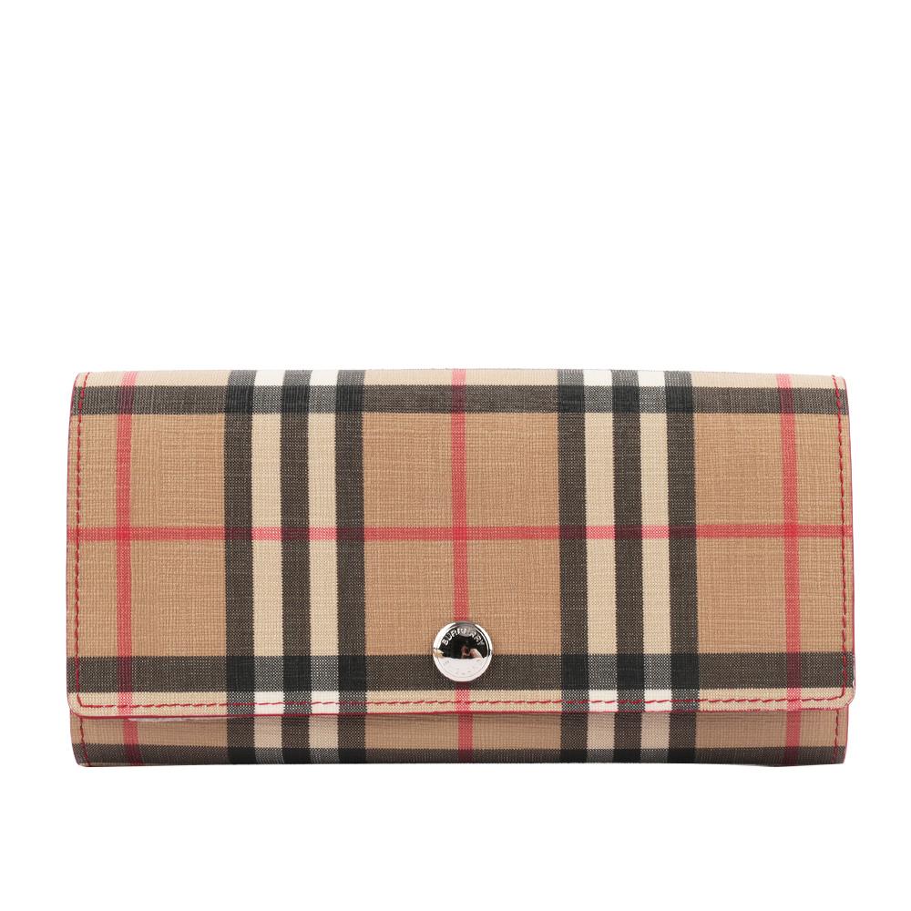 【BURBERRY】Vintage格紋環保帆布厚款長夾(亮軍紅色) 8015117 A1383