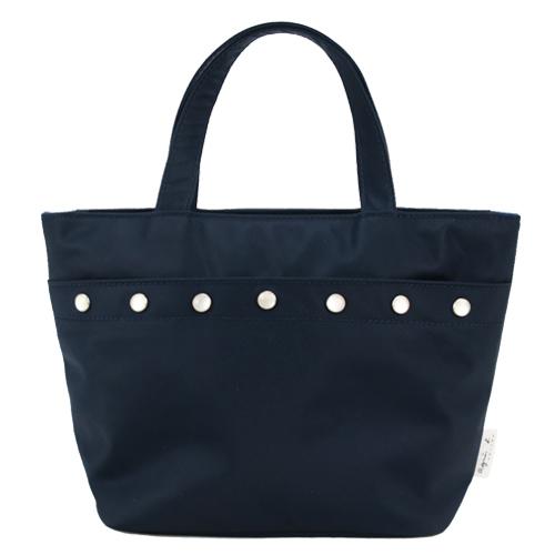 agnes b. 排釦飾邊尼龍手提包-藍