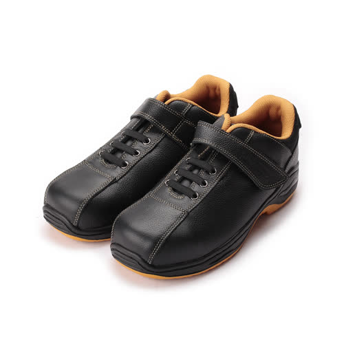 (男) PAMAX 鞋帶式黏帶鋼頭安全鞋 黑 男鞋 鞋全家福