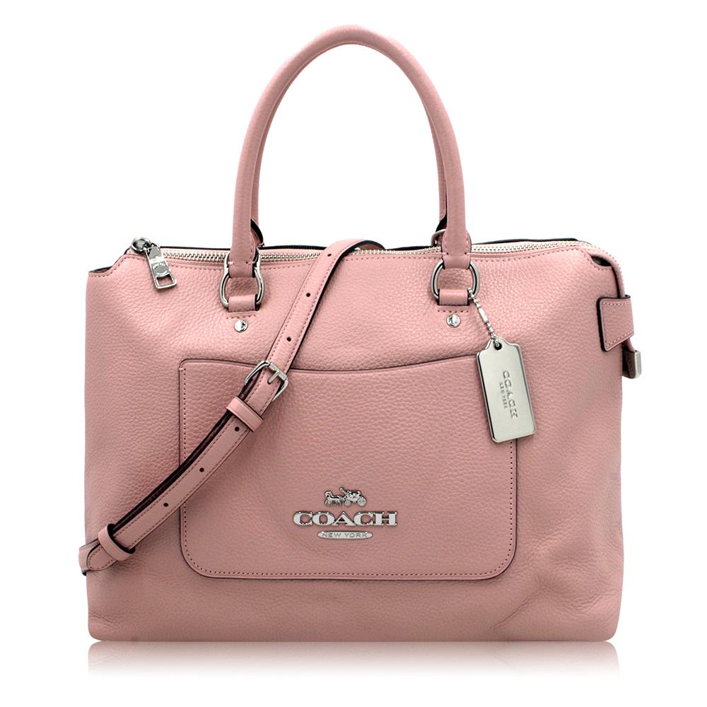 COACH 荔枝皮紋口袋PETAL系列牛皮手提斜背包(大)-粉色