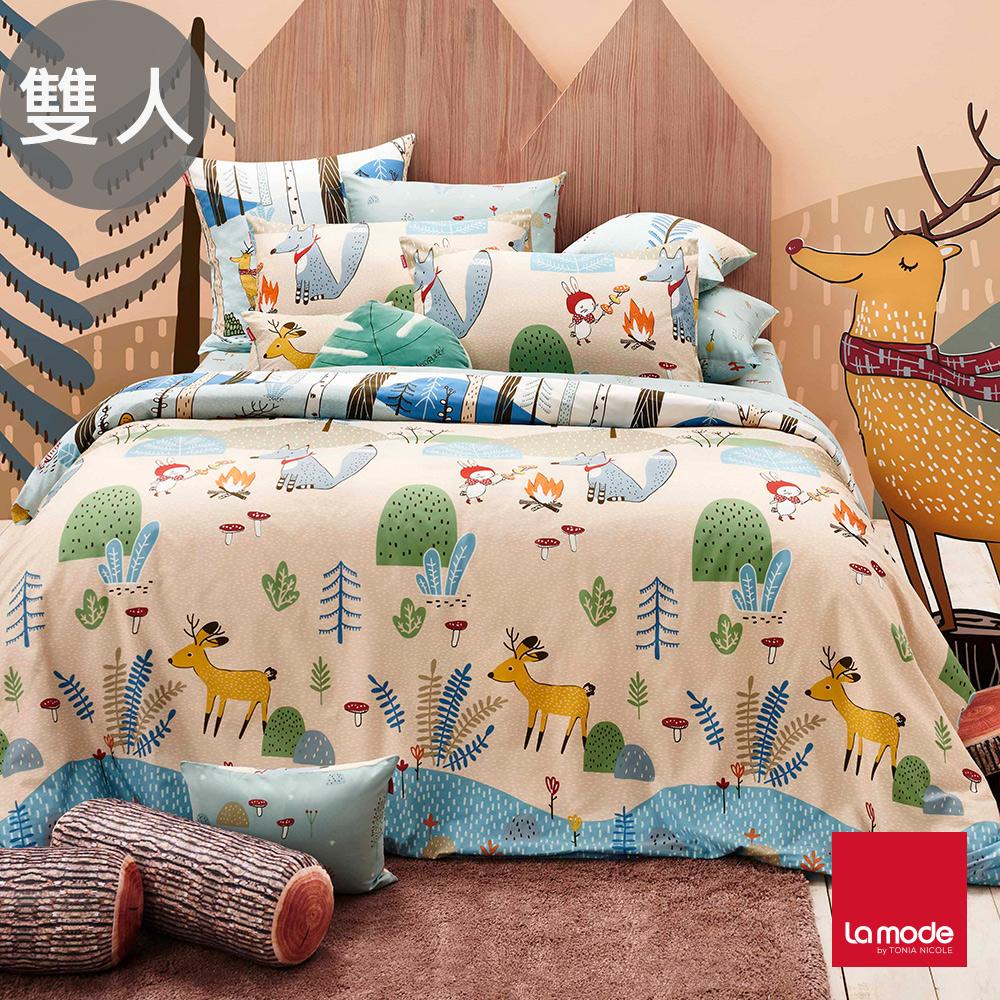 La Mode寢飾 野餐好朋友環保印染100%精梳棉兩用被床包組(雙人)