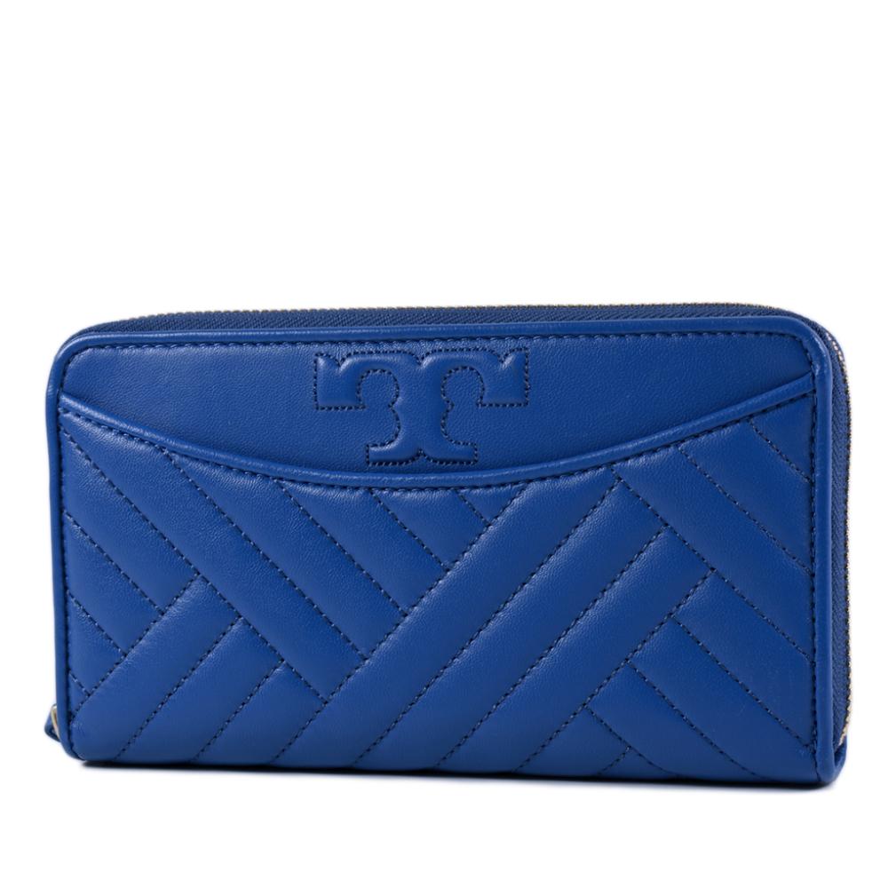 TORY BURCH 衍縫幾何小羊皮拉鍊長夾-寶藍色