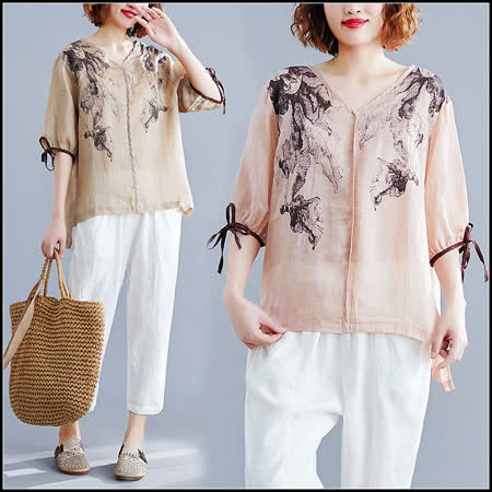 Maya Collection 罩衫式古典藝術風格上衣