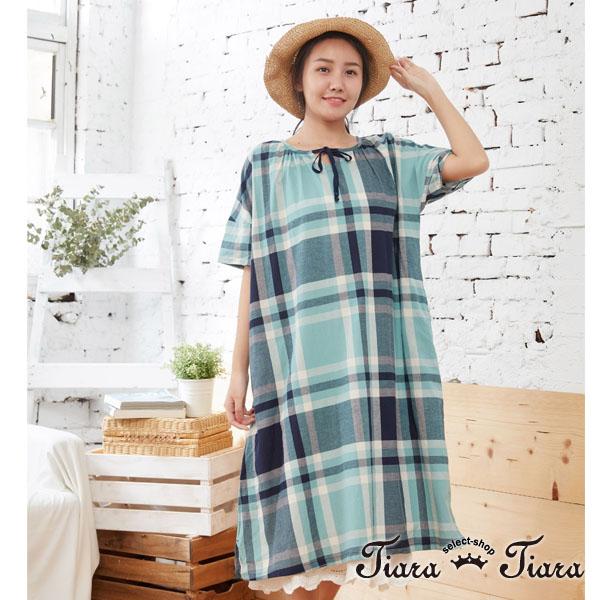 【Tiara Tiara】百貨同步aw 領綁帶大格紋純棉寬版短袖洋裝(綠) 平台獨家