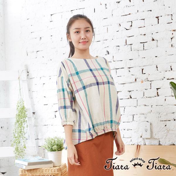【Tiara Tiara】百貨同步aw 棉麻混紡長短版大格紋縮口上衣(米/藍) 平台獨家