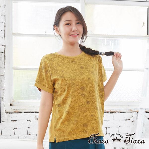 【Tiara Tiara】百貨同步aw 手繪插圖風格花朵短袖上衣棉T(白/黃) 平台獨家