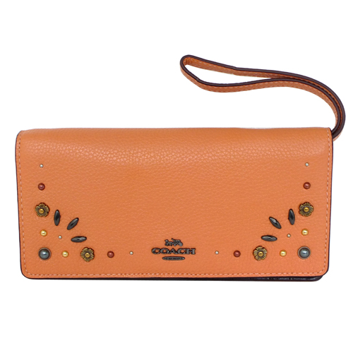 COACH橘全皮鉚釘貼花釦式雙摺附掛帶長夾