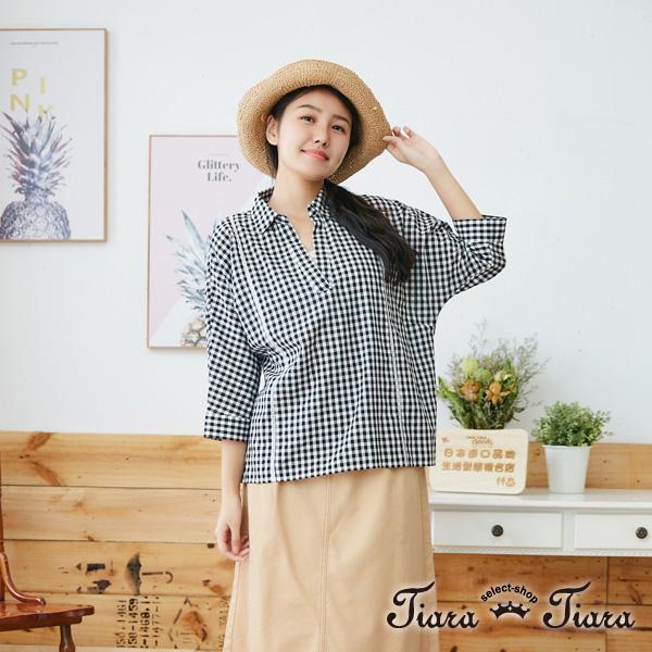 【Tiara Tiara】百貨同步aw 小格紋開襟飛鼠袖寬版上衣(黑) 平台獨家