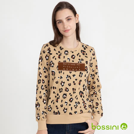 bossini 豹紋圓領上衣褐色