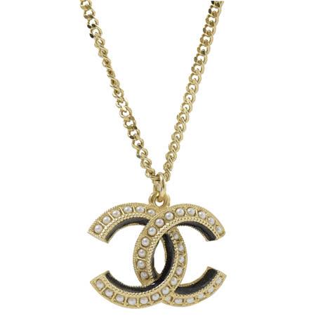 CHANEL  珍珠鑲嵌雙色長項鍊