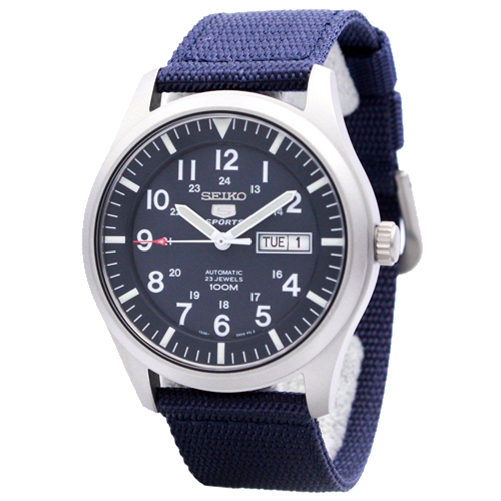 SEIKO 精工 運動機械男錶 帆布錶帶 深藍 防水100米(SNZG11K1)