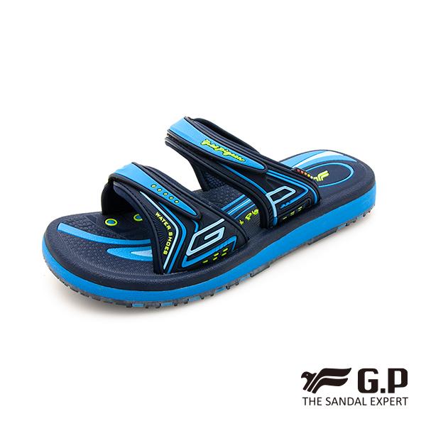【G.P 女款親子系列舒適雙帶拖鞋】G0574BW 藍色(SIZE:33-39 共三色)
