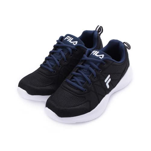 FILA 綁帶側包輕量跑鞋 黑深藍 1-J326T-031 男鞋 鞋全家福