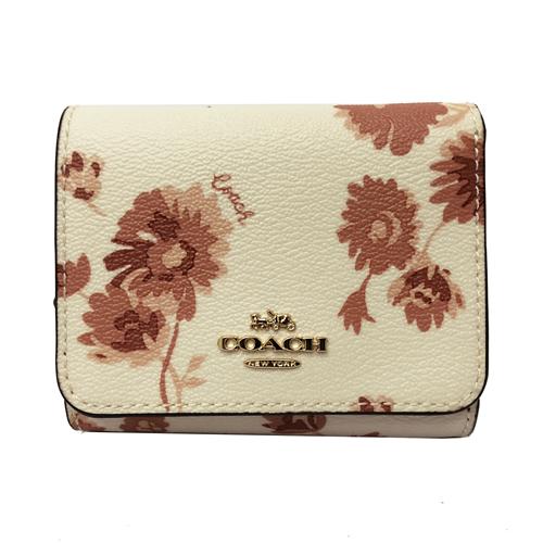 【COACH】經典LOGO PVC皮革花卉多卡片夾層短夾(米白/花卉)