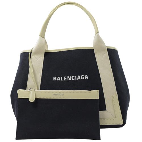 BALENCIAGA 巴黎世家 NAVY 厚帆布皮飾邊手提托特包.深藍